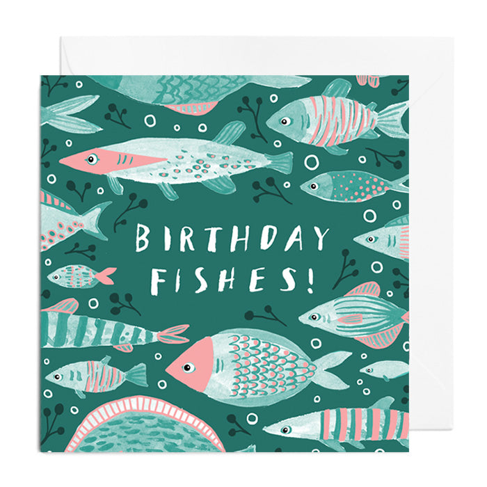A greetings card featuring green and pink fish captioned with Birthday Fishes!
