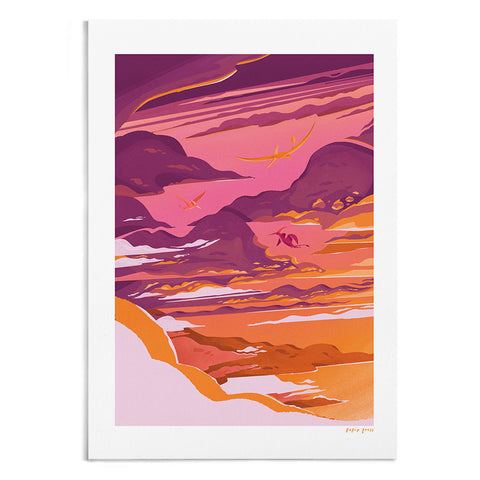 Pterosaurs at Sunset Artists Print