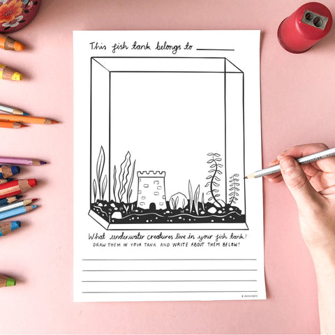 Free Colouring In Sheet - Fish Tank
