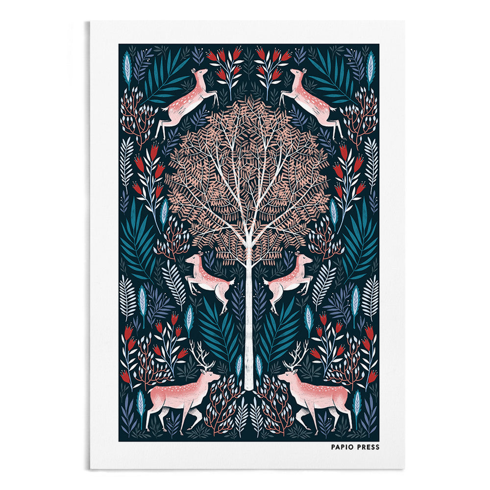 A symmetrical drawing of a tree and either side of the tree are 3 leaping deer surrounded by blue and pink florals.