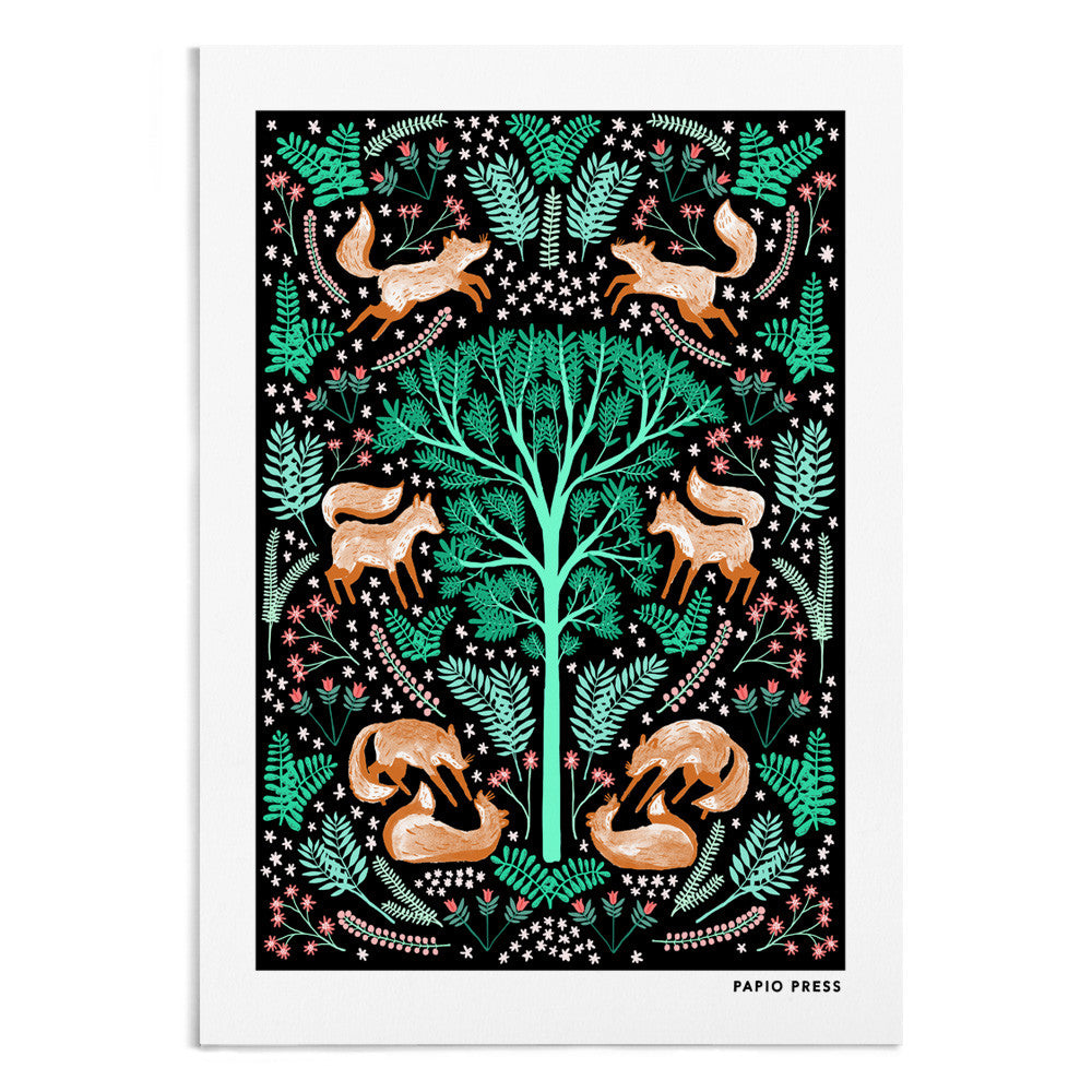 A symmetrical painting featuring a tree and on either side of the tree are 3 foxes surrounded by green florals.