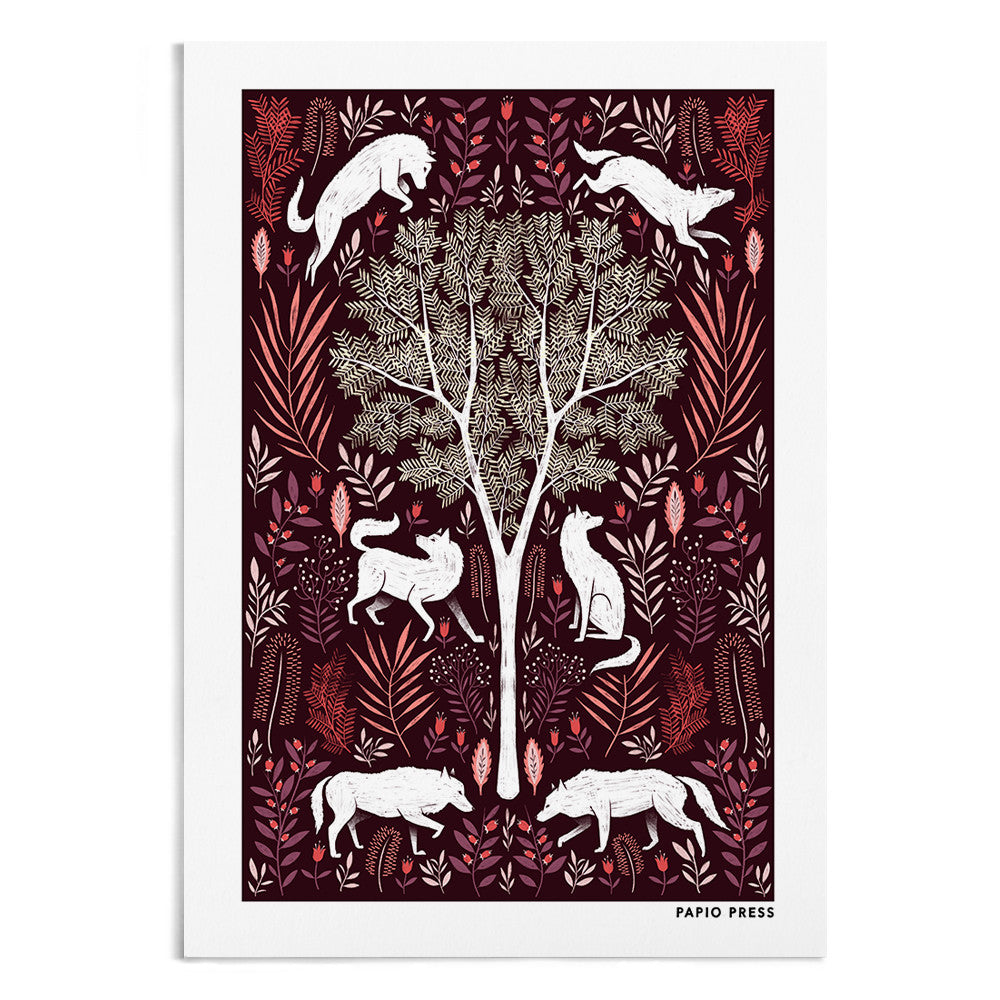 A symmetrical drawing of a tree and either side of the tree are 3 white wolves surrounded by orange, red and purple florals.