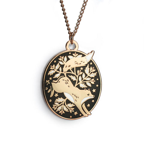 Floral Fox Enamel Necklace