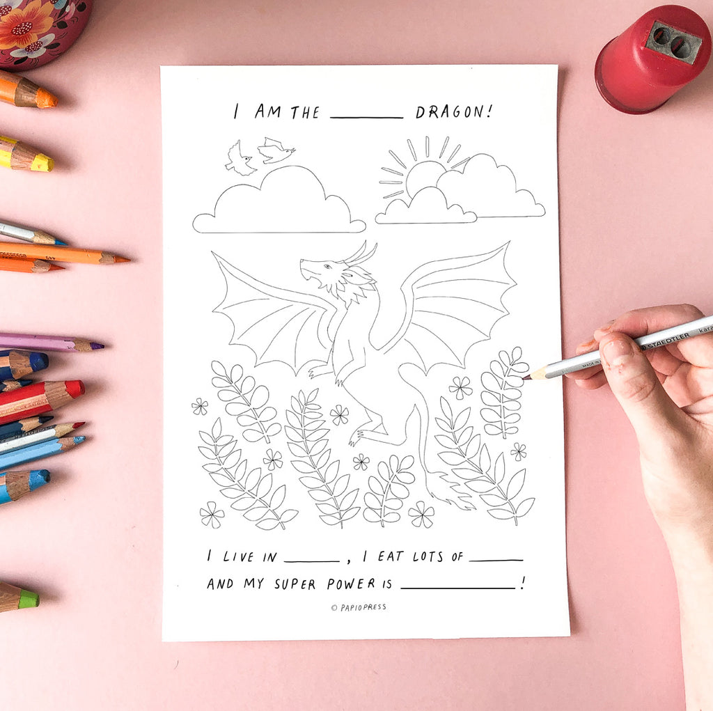 Free Colouring In Sheet - Dragon