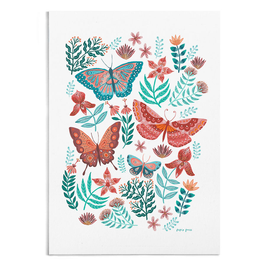A painting of butterflies and florals.