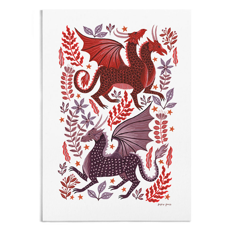 A painting of 2 red and purple dragons surrounded by red leaves and flowers.