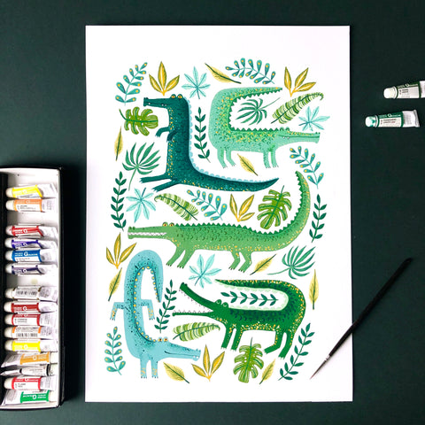 Crocodile Garden Original Painting
