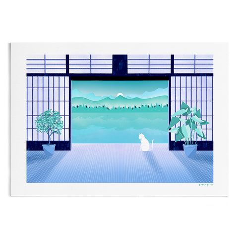 A calming illustration of a white cat sat at the entrance of Japanese sliding doors. Outside the doors is a lake, mountains and rising sun.