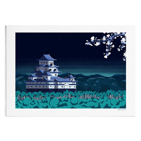 An illustration of Himeji castle in Japan, at night. In the distance are glowing mountains and in the foreground is white blossom.