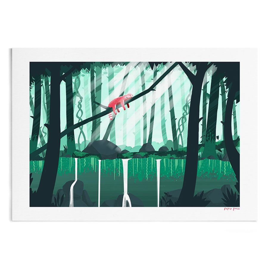 An illustration of a red panda sleeping on a fallen tree in the middle of the jungle whilst the sun beams down.