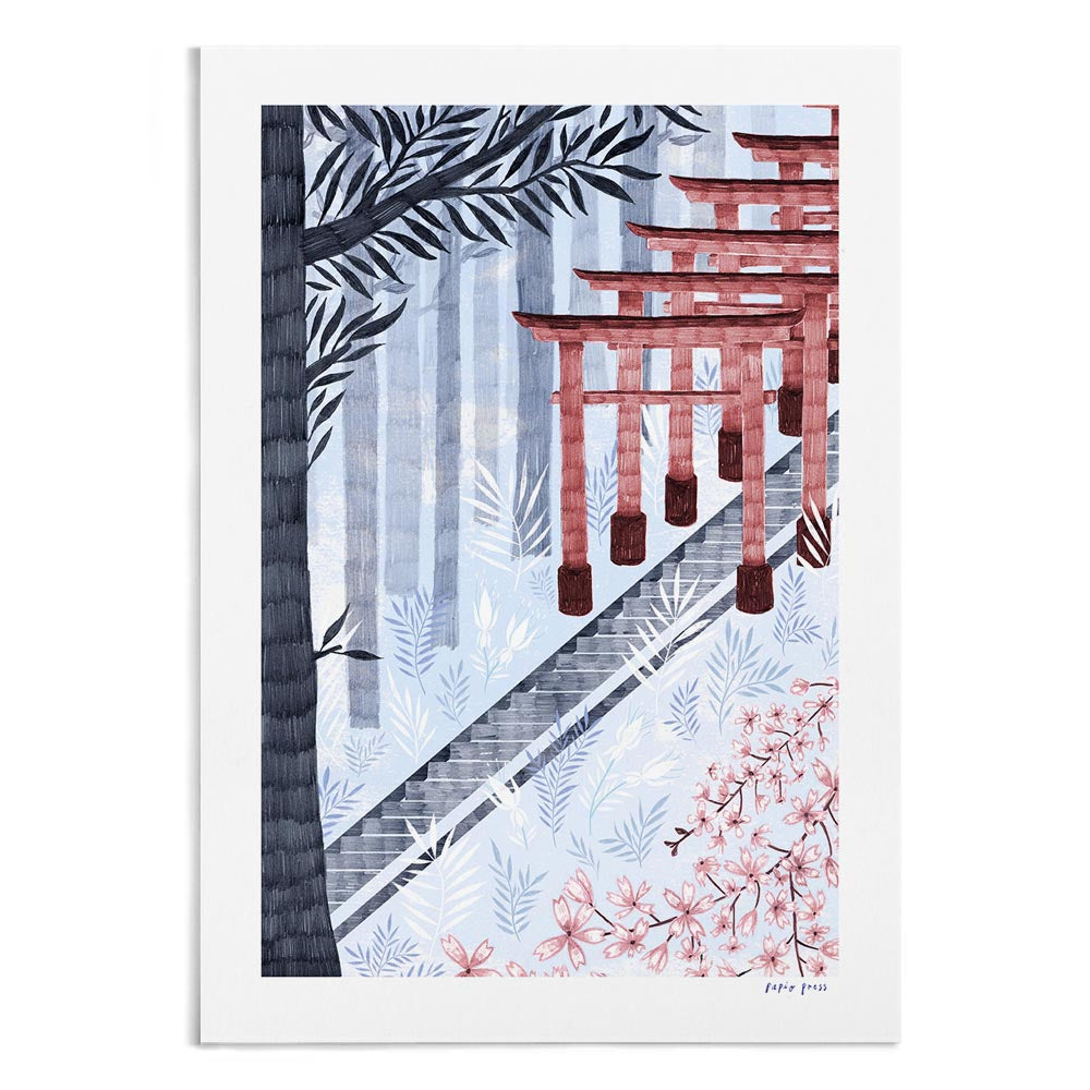 A textured illustration of Fushimi Inari shrine in Japan. It features an ascending staircase in the forest.