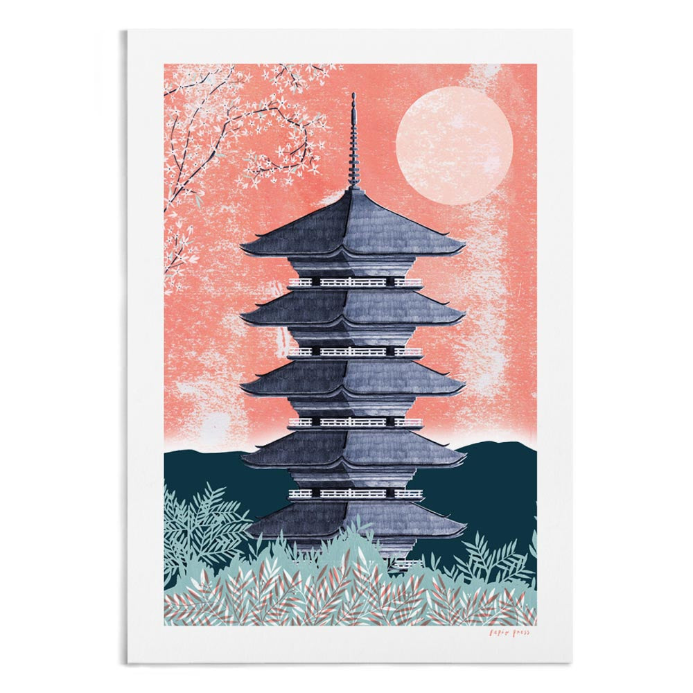 A textured illustration of Tō-ji Temple.