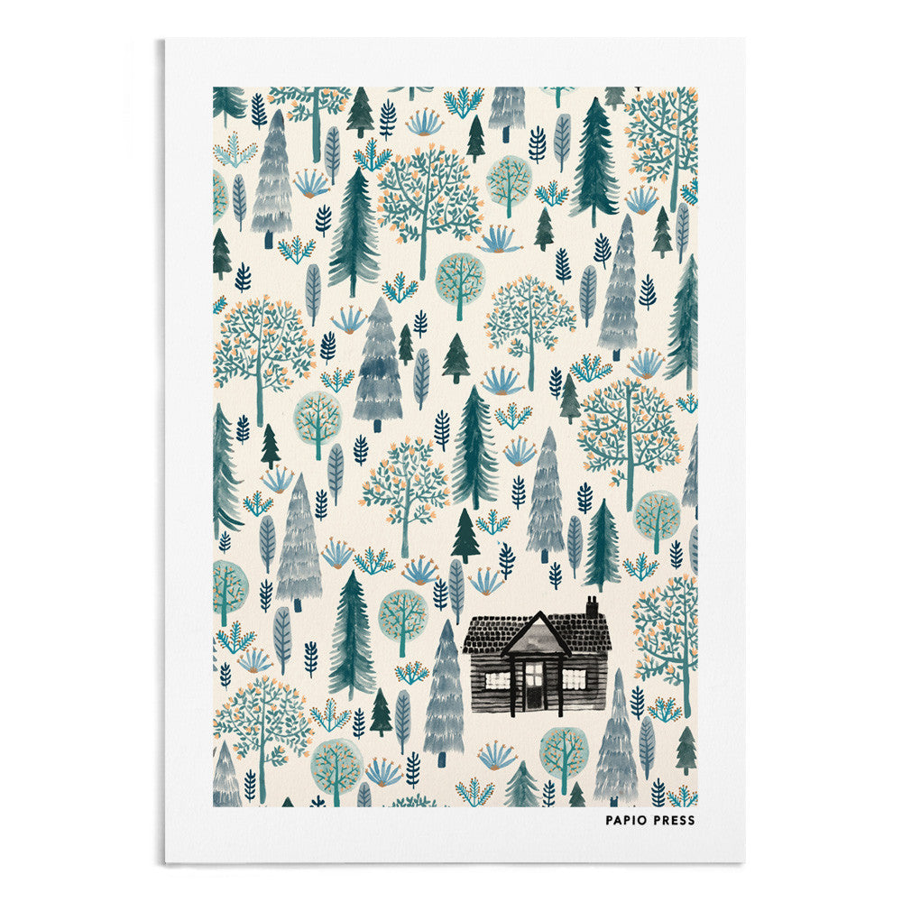 A patterned watercolour painting of a log cabin in the middle of the forest.