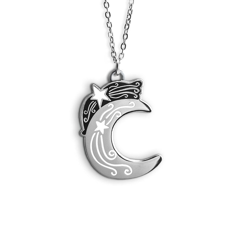 A silver necklace featuring a crescent moon with a white star and swirls.