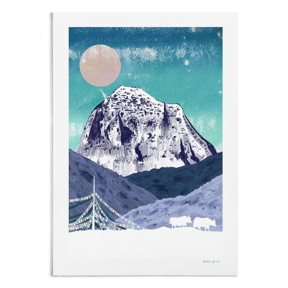 A textured and vibrant illustration of Mt Kailash. In the foreground are prayer flags.