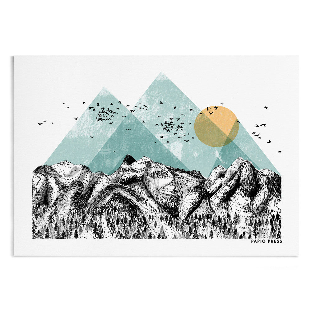 A textured watercolour painting of mountains with a sun and flying birds.