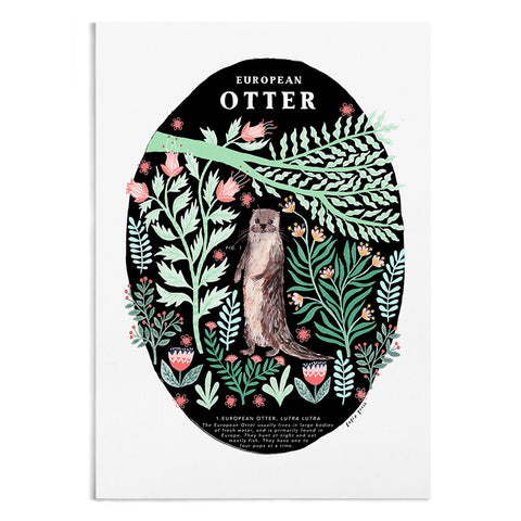 Natural History Otter - A4 / A3 Artists Print - Papio Press