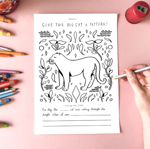 Free Colouring In Sheet - Big Cat