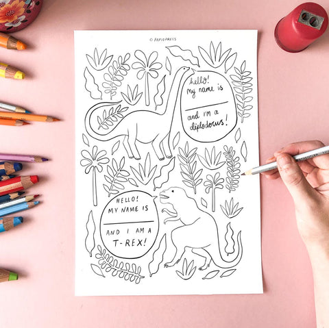 Free Colouring In Sheet - Dinosaurs