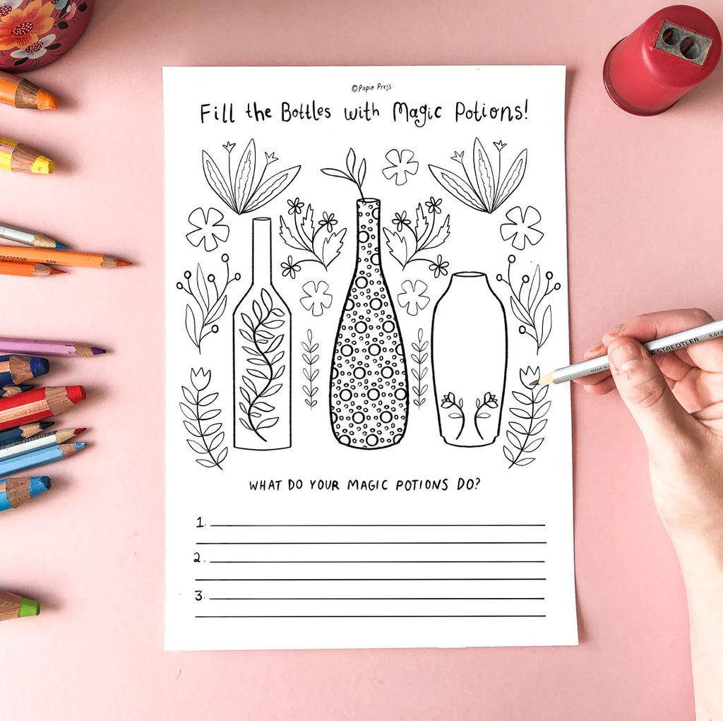 Free Colouring In Sheet - Potions