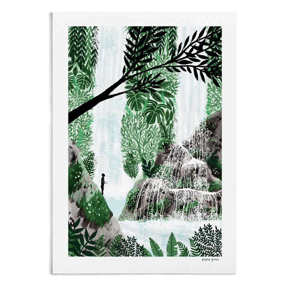 A textured watercolour painting of a pilgrim bathing under a waterfall in the jungle.
