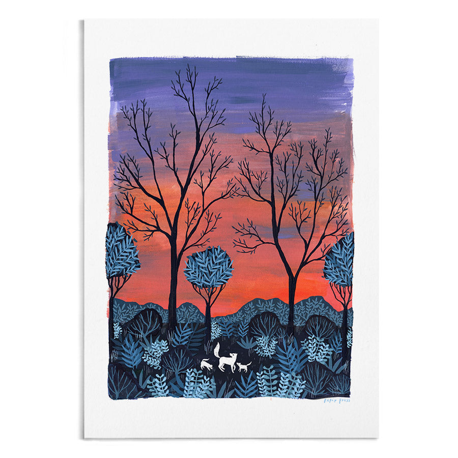 A watercolour painting of white foxes in the forest at sunrise. In the distance is a bright red and purple sky.