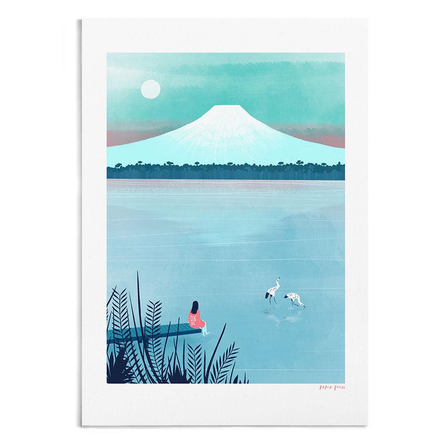 A watercolour painting of a woman dipping her foot into a lake in front of Mt Fuji, Japan.