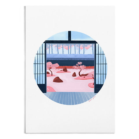 A circular illustration of Japanese sliding doors looking out onto a zen garden in pink and blue.