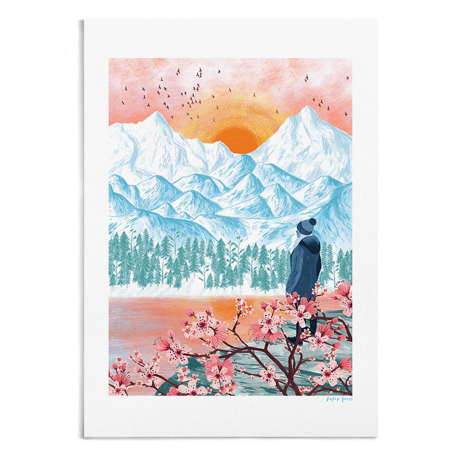 A textured and vibrant painting of a hiker appreciating a sunrise behind some mountains.