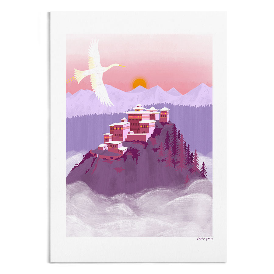 A calming illustration of a purple temple on top of a mountain. In the foreground is a flying crane.