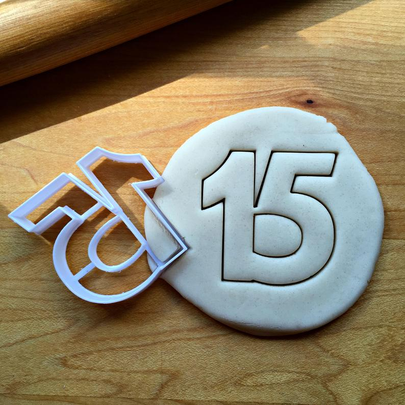 Number 15 Cookie Cutter/Dishwasher Safe