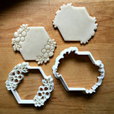 Set of 2 Floral Hexagon Cookie Cutters/Dishwasher Safe