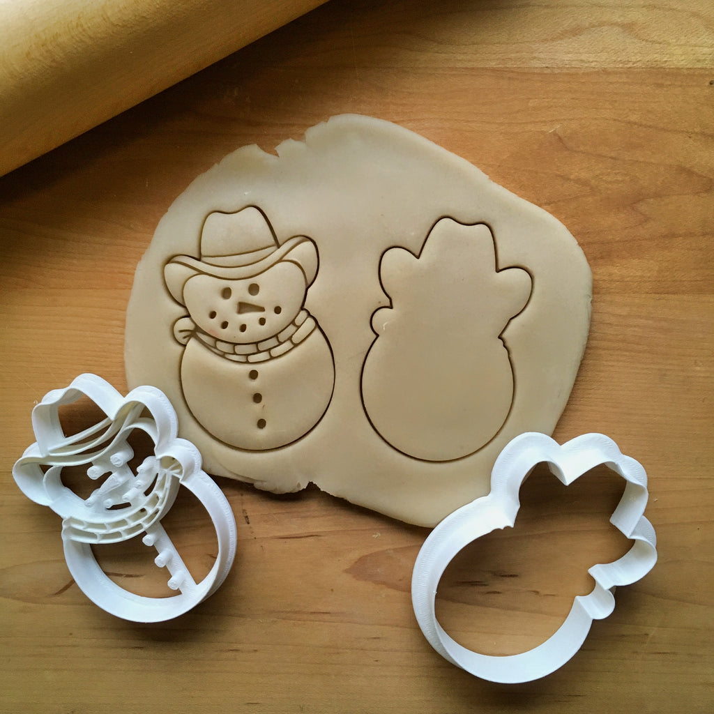 Set of 2 Cowboy Snowman Cookie Cutters/Dishwasher Safe