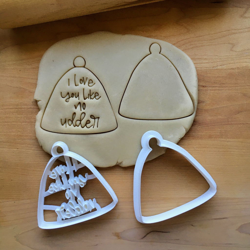 Set of 2  I Love You Like No Udder Cow Bell Cookie Cutter/Dishwasher Safe