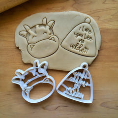 Set of 2 Cow and Bell/I Love You Like No Udder Cookie Cutters/Dishwasher Safe