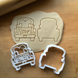 Set of 2 Pickup Truck with Love Tailgate Cookie Cutters/Dishwasher Safe