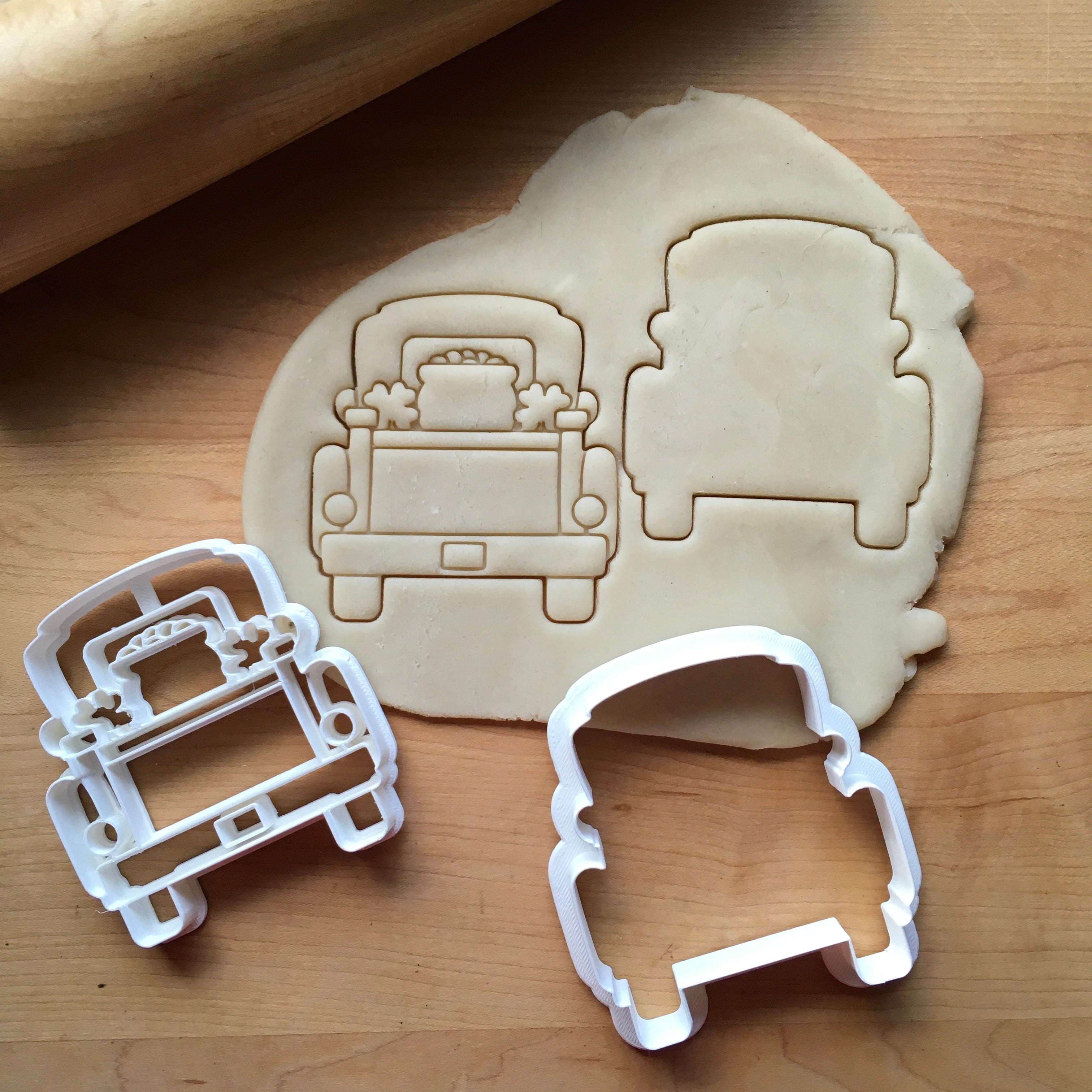 Set of 2 St. Patrick's Day Pickup Truck with Tailgate Cookie Cutters/Dishwasher Safe
