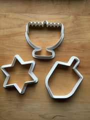 Hanukkah  Set of 3 Cookie Cutters/Dishwasher Safe