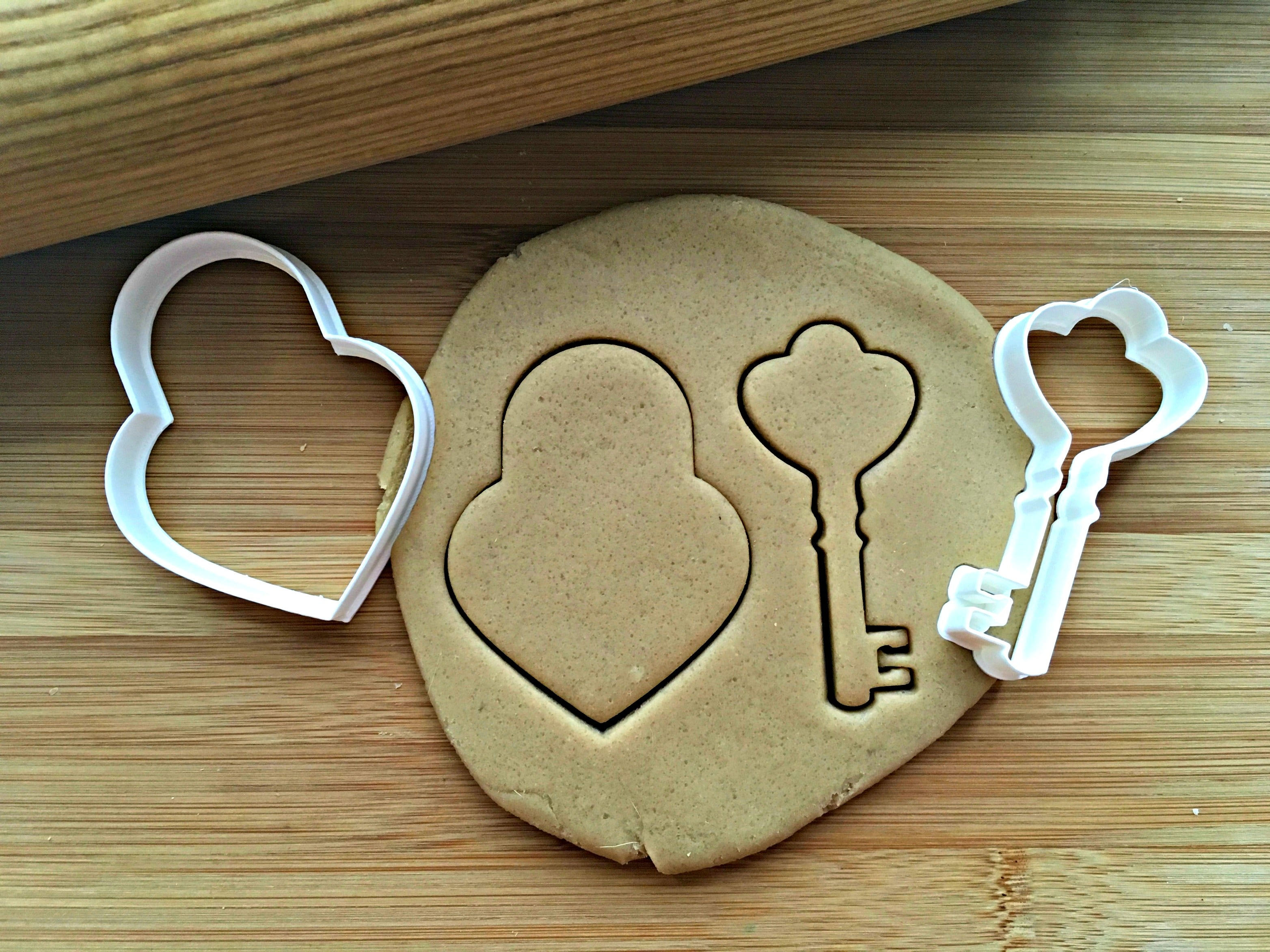 Set of 2 Heart Lock and Key Cookie Cutters/Dishwasher Safe