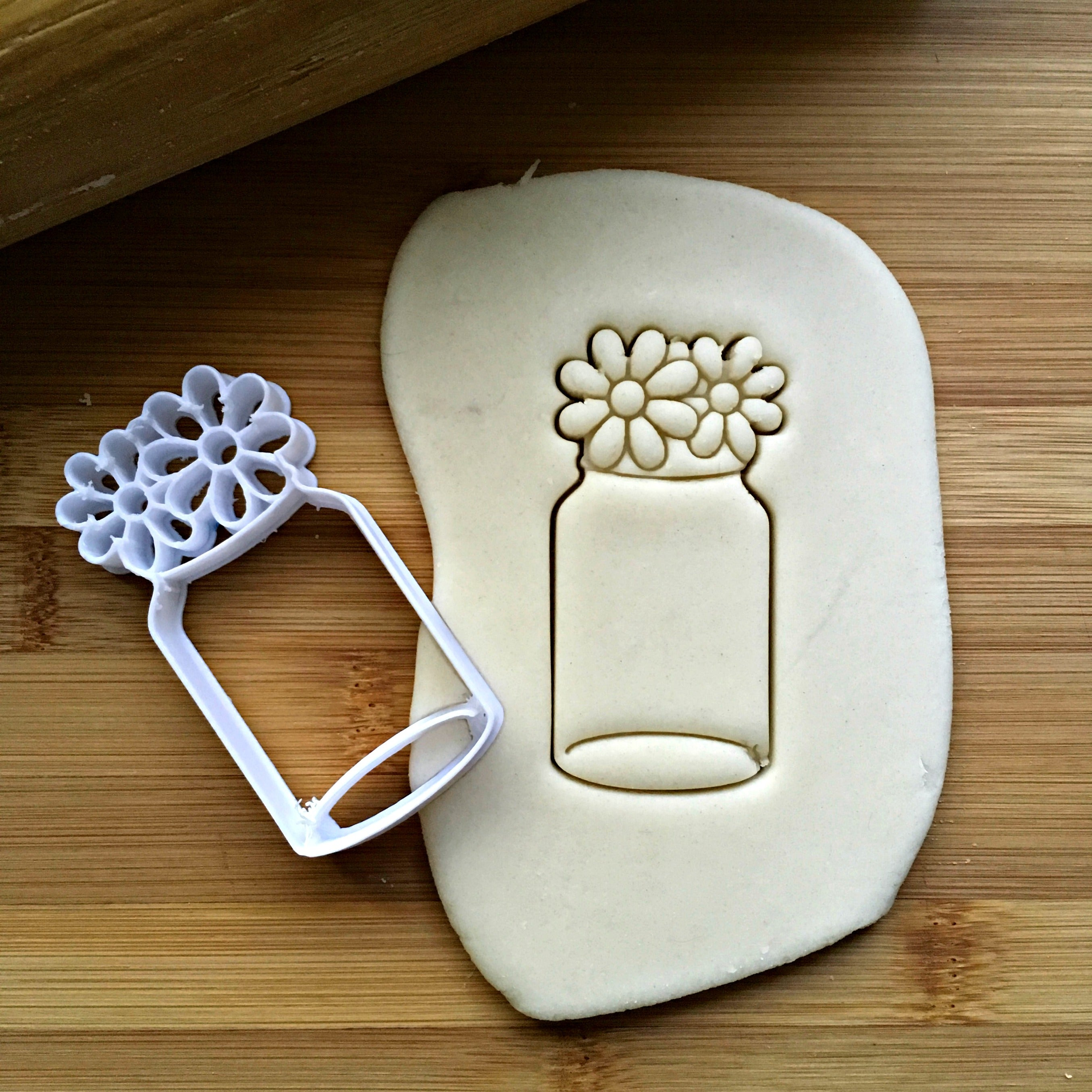 Mason Jar with Flowers Cookie Cutter