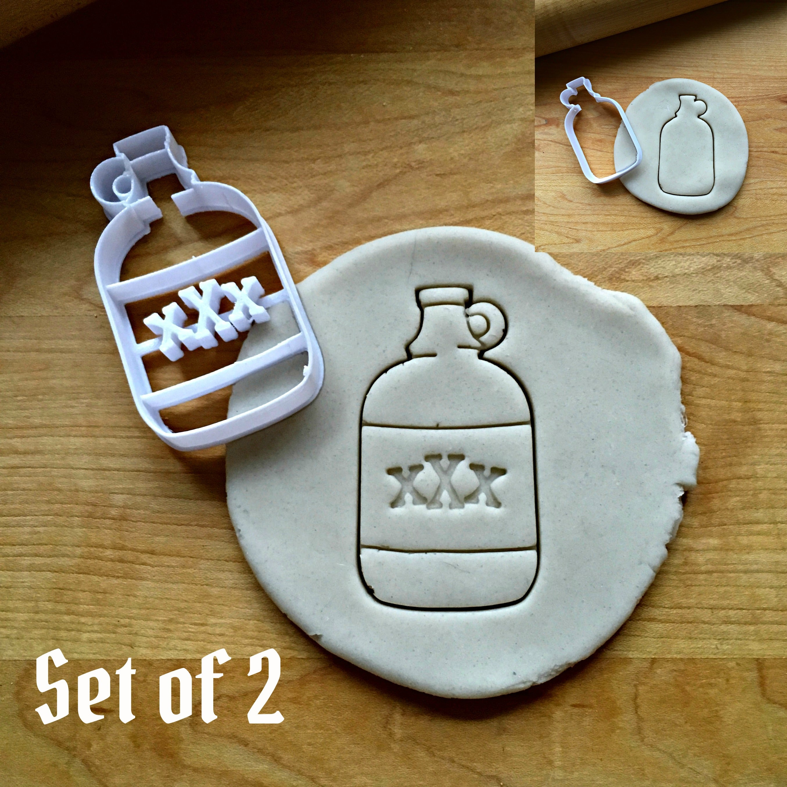 Set of 2 Bottle of Rum Cookie Cutters/Dishwasher Safe