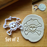 Set of 2 Skull and Cross Bones Cookie Cutters