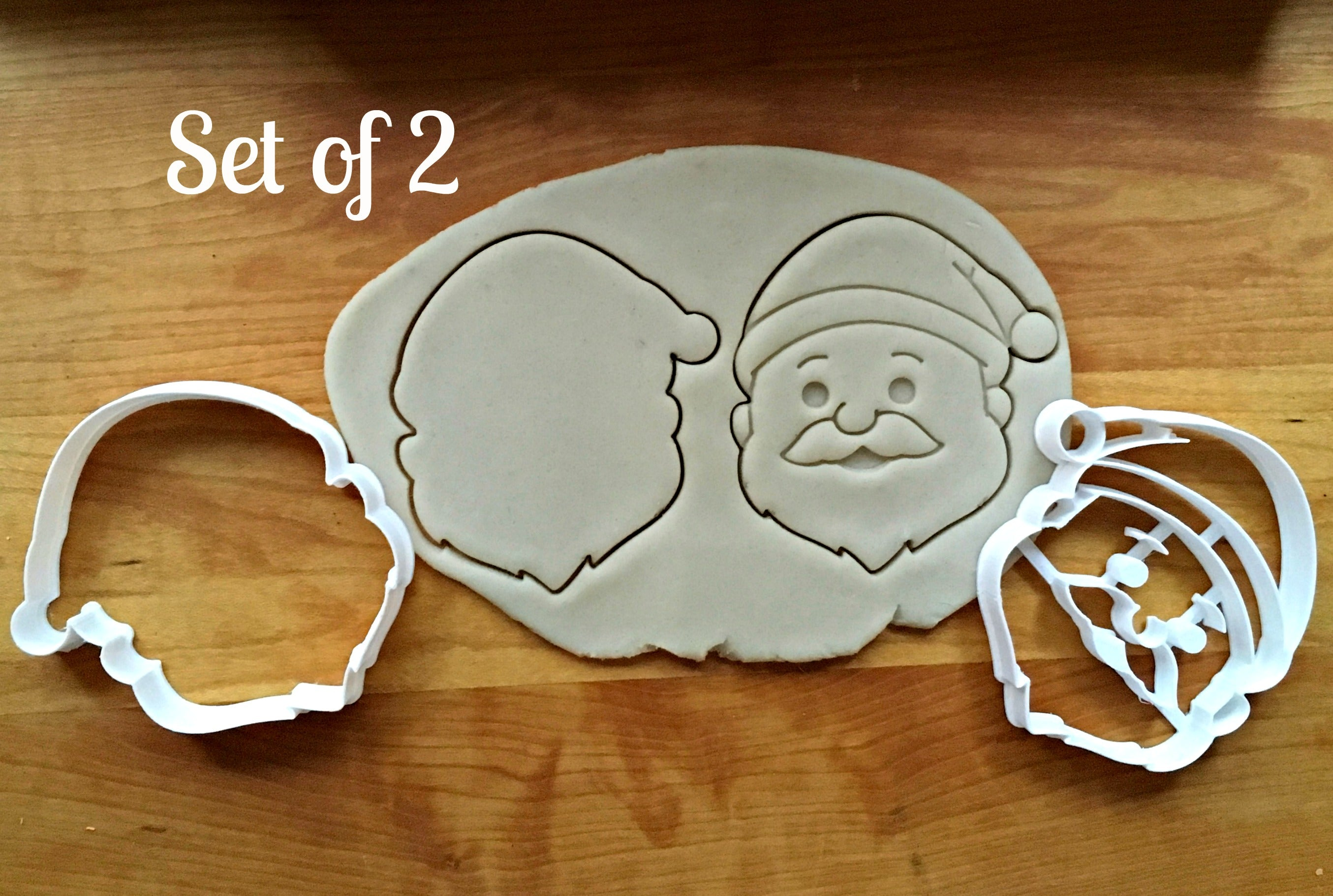 Set of 2 Santa Cookie Cutters/Dishwasher Safe