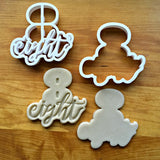 Set of 2 Lettered Number 8 Cookie Cutters/Dishwasher Safe