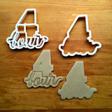 Set of 2 Lettered Number 4 Cookie Cutters/Dishwasher Safe