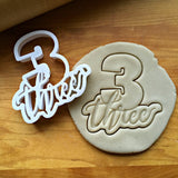 Lettered Number 3 Cookie Cutter/Dishwasher Safe