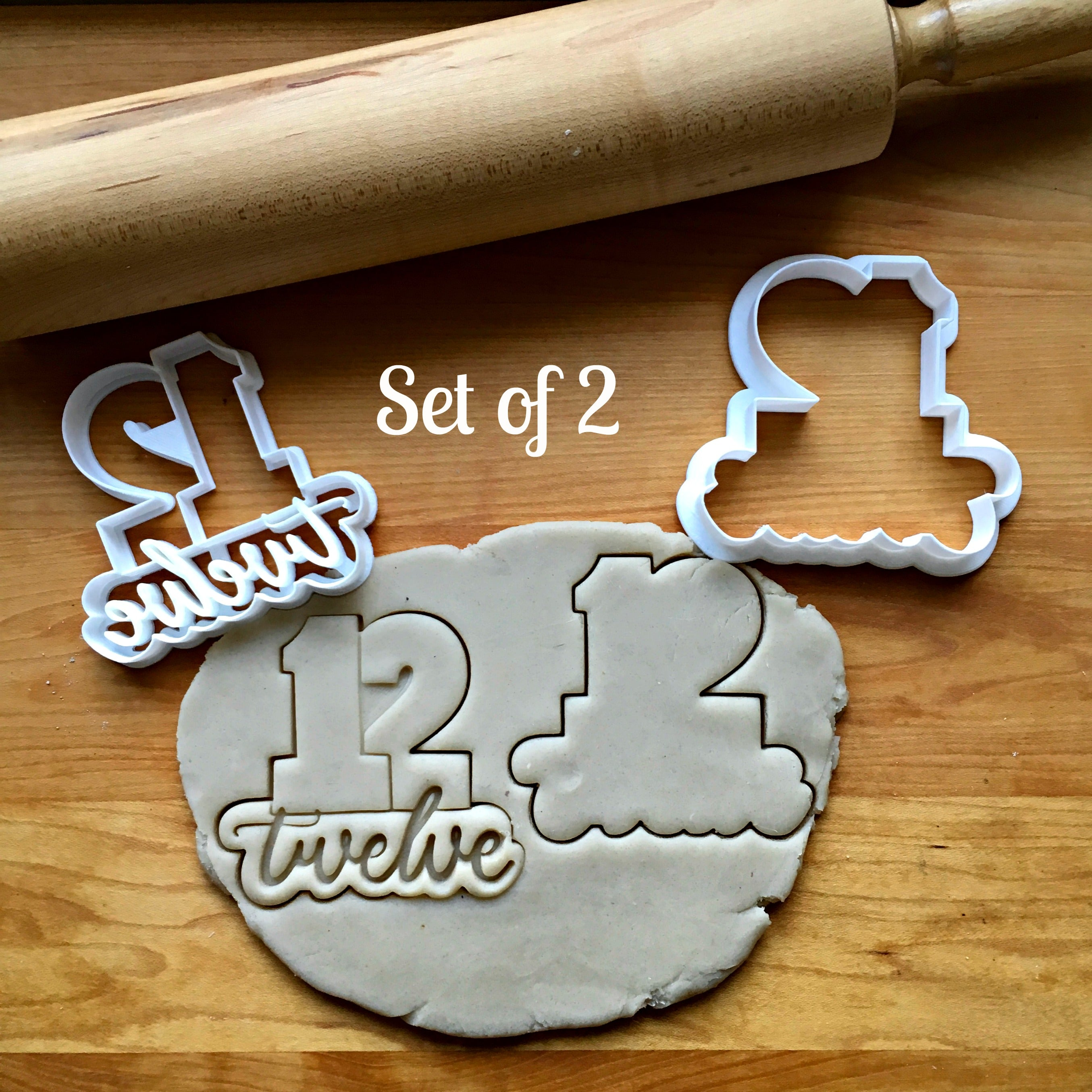 Set of 2 Lettered Number 12 Cookie Cutters/Dishwasher Safe