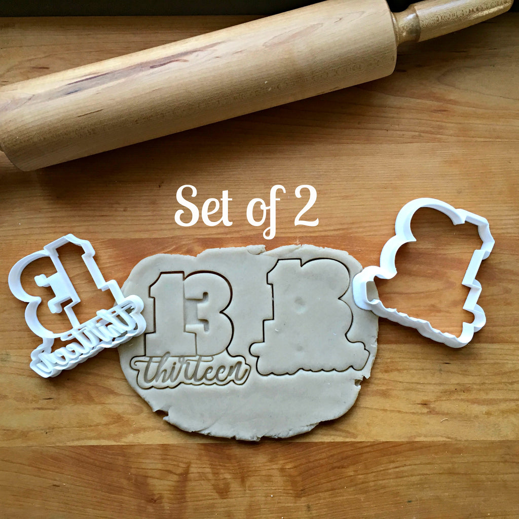 Set of 2 Lettered Number 13 Cookie Cutters/Dishwasher Safe