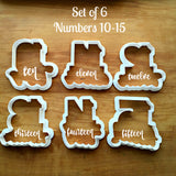 Set of 6 Lettered Number Cutters 10-15/Dishwasher Safe