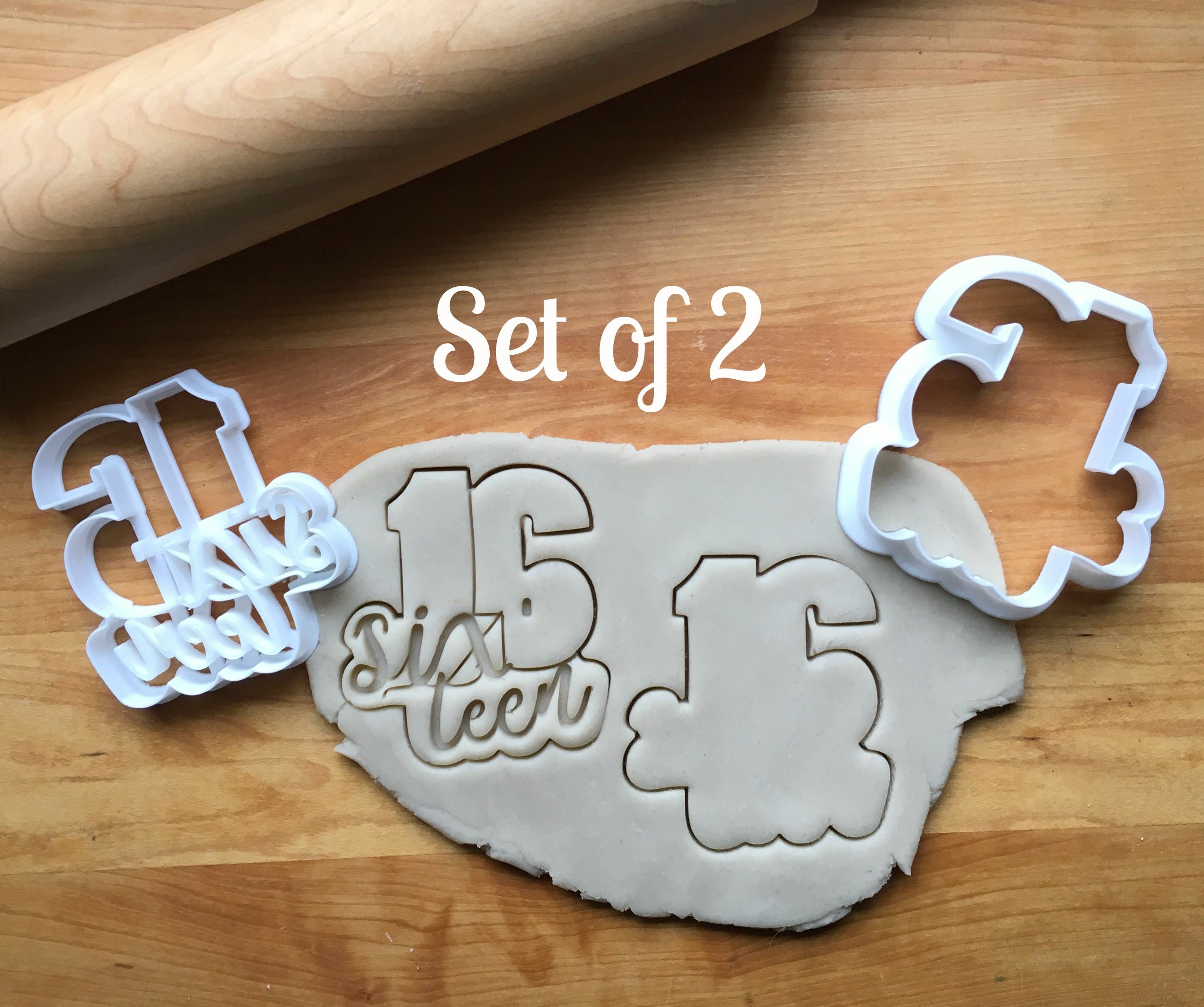 Set of 2 Lettered Number 16 Cookie Cutters/Dishwasher Safe